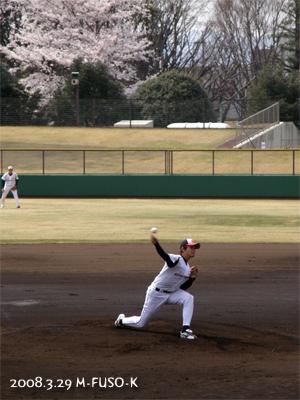桜と福山雄投手(後は堤邦博選手)