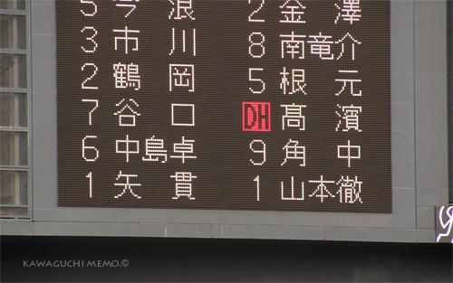 電光掲示板:8回から登板