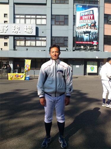 石塚信寿選手と神宮球場